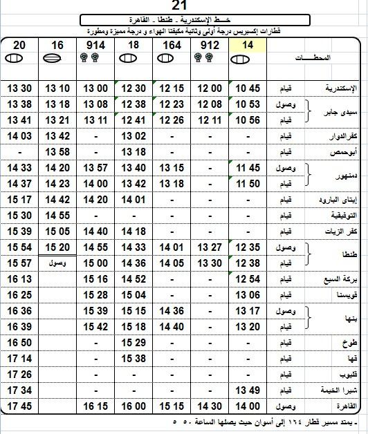 مواعيد قطارات القاهرة الاسكندرية العادية