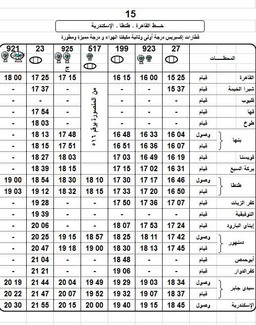 مواعيد قطارات طنطا القاهرة المكيفة 2018