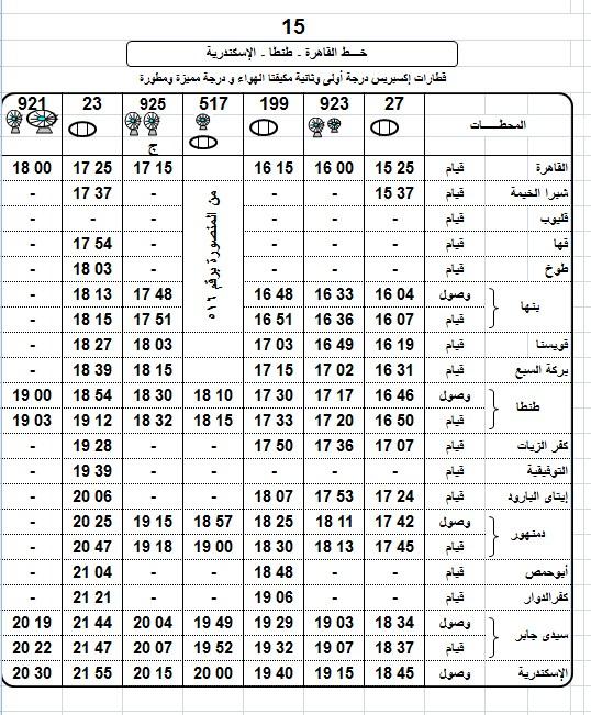 مواعيد قطارات الاسكندرية القاهرة 2018 واسعار التذاكر