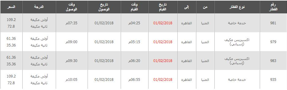 مواعيد القطارات من المنيا الى القاهرة