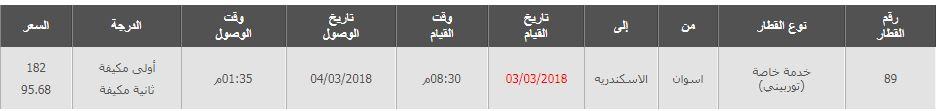 مواعيد القطارات من اسوان الى الاسكندرية واسعار التذاكر