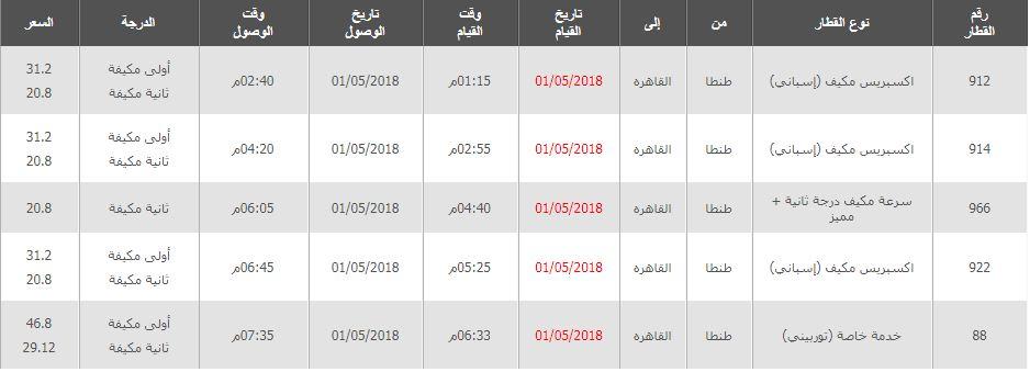 جدول مواعيد قطارات طنطا القاهرة واسعار التذاكر