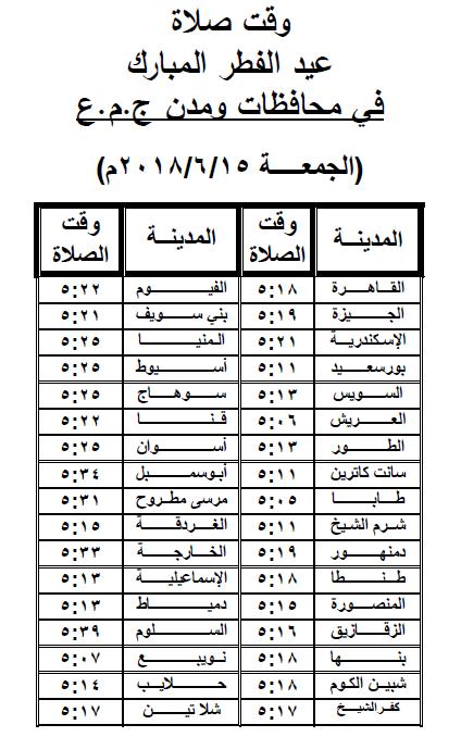 موعد صلاة عيد الفطر 2018 في مصر