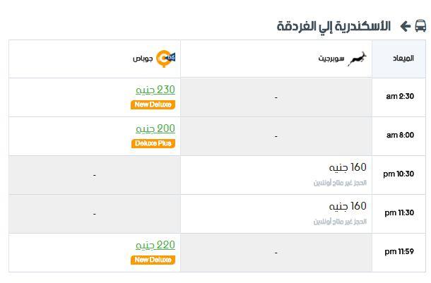 مواعيد سوبر جيت الأسكندرية إلي الغردقة واسعار التذاكر