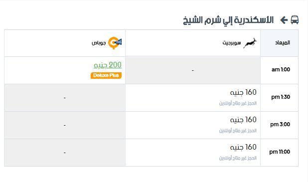 مواعيد سوبر جيت الأسكندرية إلي شرم الشيخ واسعار التذاكر