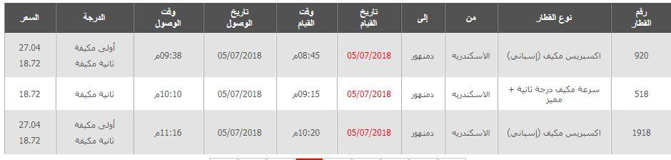 مواعيد قطارات الاسكندرية الى دمنهور واسعار التذاكر