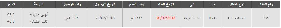 مواعيد قطارات طنطا اسكندرية 2019
