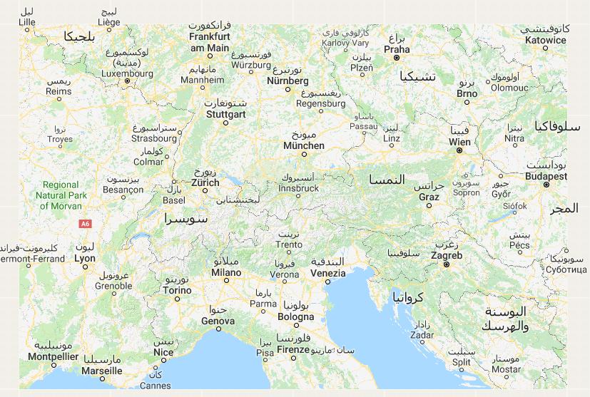خريطة سويسرا السياحية بالعربى