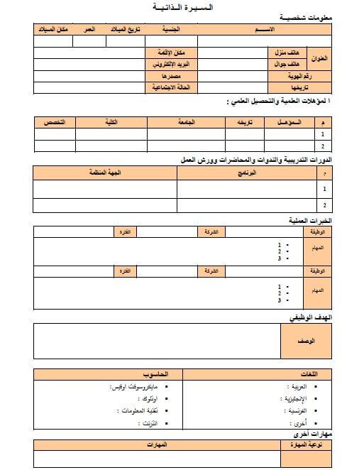 نموذج سيرة ذاتية عربي إنجليزي سفر