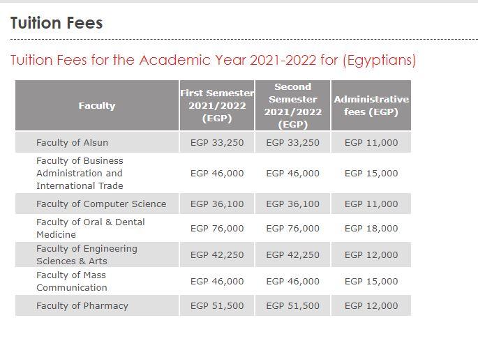 مصاريف جامعة مصر الدولية 2021 - 2022