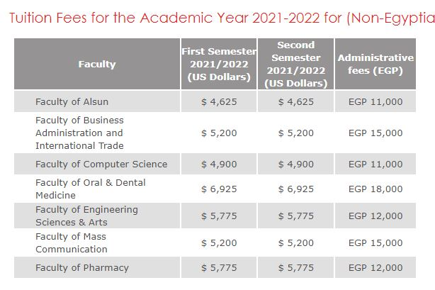 مصاريف جامعة مصر الدولية 2021 - 2022 للوافدين
